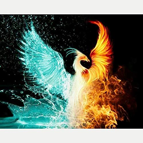 5D Diamond Painting by Number Kits Full Drill Rhinestone Embroidery Cross Stitch Pictures Arts Craft for Home Wall Decor,Ice and Fire Phoenix - 12x16 Inch