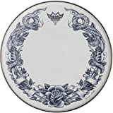 Remo Ambassador X Skyndeep Snare Drumhead - Tattoo Serpentrose On White, 14""