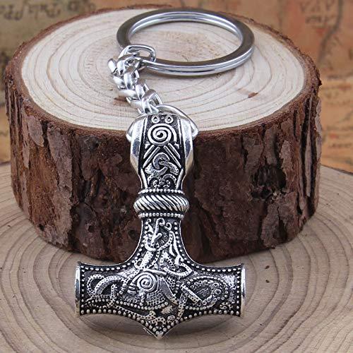 Key Chains - Dropshipping 1pcs Thor's Hammer Mjolnir Pendant Keychain Viking Scandinavian Norse Viking Keychain Men Gift - by Mct12-1 PCs
