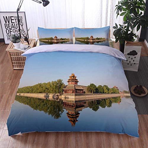 VROSELV-HOME European Style Print Bed Set,Forbidden City in
