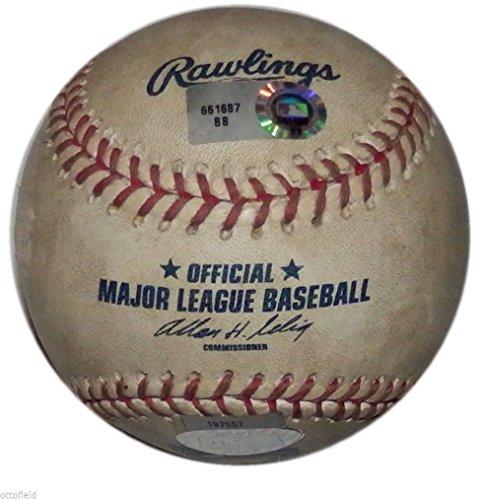 (BRAD PENNY PITCH GARRETT ATKINS COLORODA ROCKIES LA DODGERS 2007 GAME USED BALL)