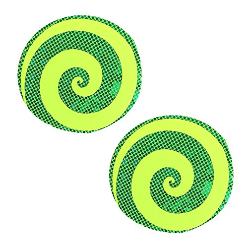 Neva Nude Yellow Blacklight Spiral on Green Entropy Nipztix Pasties Nipple Covers ()