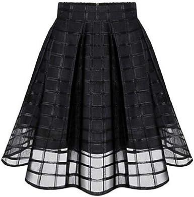 CANDLLY Faldas de Fiesta Mujeres Elegante Tutu Faldas de Cuadros ...