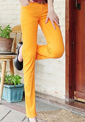 vas Denim Slim Skinny Orange Micro Unie Couleur Femmes Pantalons Fit lasticit Jeans gZnxTv8