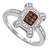 Brown Diamond Fashion Ring Solid 10k White Gold Cocktail Band Halo Style Chocolate Cluster Fancy 1/5 ctw