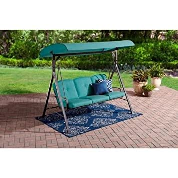 Awesome Outdoor Porch Swing Patio, 3 Seat Cushioned, Teal