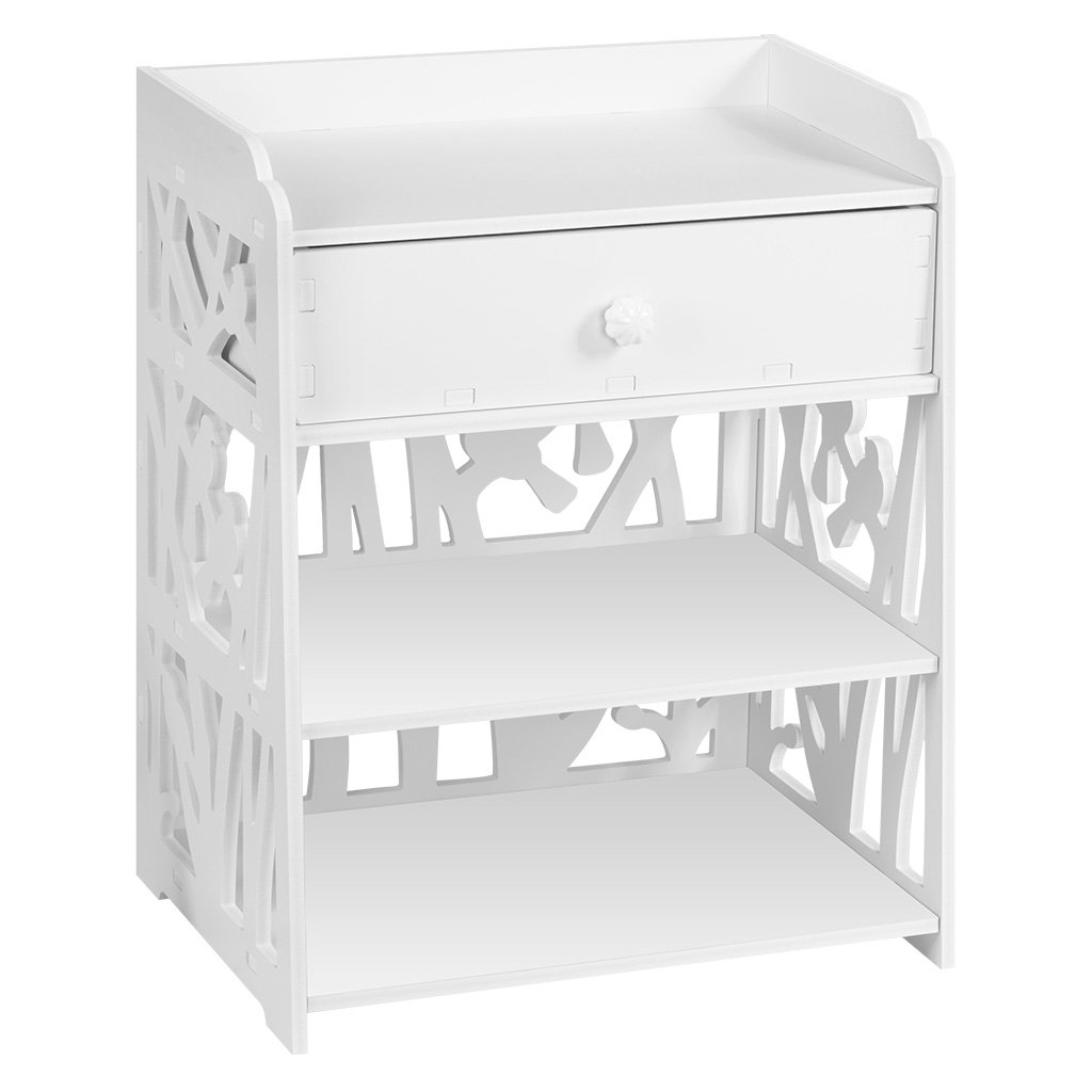 Finether Modern Night Stand Waterproof Wood Plastic Composite End Table Display Bedside Table Furniture Storage Shelf with Removable Drawer for Bedroom and Living Room, White