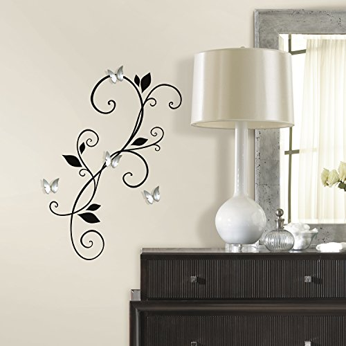 RoomMates RMK2689SCS Scroll Sconce Peel and Stick Wall Decals with Bendable Butterfly Mirrors (Appliques Wall Sconce)