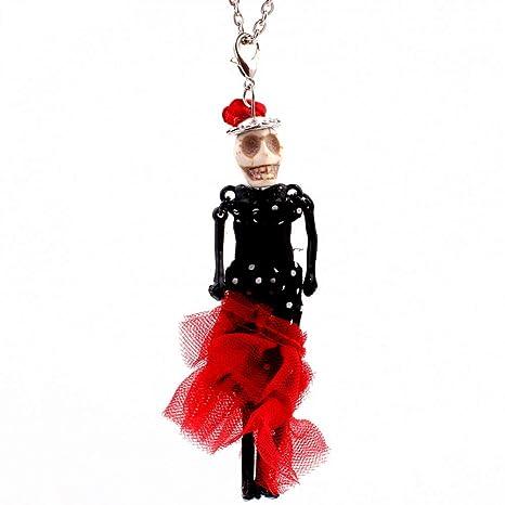 HAOJIUBUJIAN Danza Muñeca Colgantes Collar Skull Head Novia Larga ...