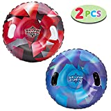JOYIN Snow Tubes (2 Sets), 34 Inches Inflatable Snow Sled for Sledding for Kids and Adults, Heavy Duty Inflatable Snow Tube Made by Thickening Material of 0.5mm