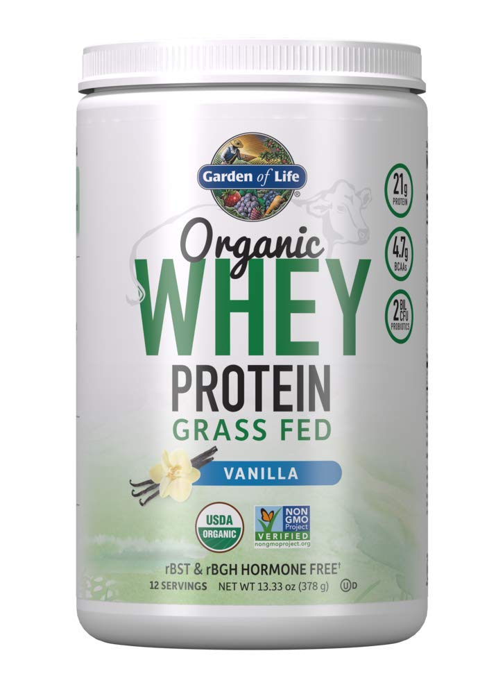 Garden of Life Certified Organic Grass Fed Whey Protein Powder - Vanilla, 12 Servings - 21g California Grass Fed Protein plus Probiotics, Non-GMO, Gluten Free, rBST & rBGH Free, Humane Certified by Garden of Life