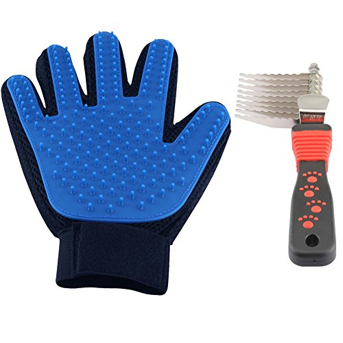 Delomo Deshedding Glove and Pet Grooming Glove for Dogs and Cats, Gentle and Efficient Pet Hair Remover Glove - Perfect for Short and Long Hair Pets (1 Pack with 1 Comb)