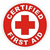 "3 pack - Certified First Aid (size: 2"" Circle, color: RED/WHITE) Hard Hat - Helmet - Phone - Ipad - Window - etc."