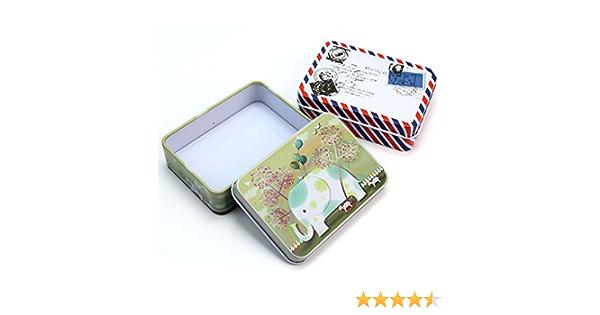 2X Hierro Hojalata Caja Cajita Rectangular Joyero Tarjeta Almacenamiento Décor: Amazon.es: Hogar