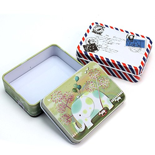 2 Pcs Novelty Mini Iron Tin Box Jewelry Cards Coin Storage Rectangular Bags Case