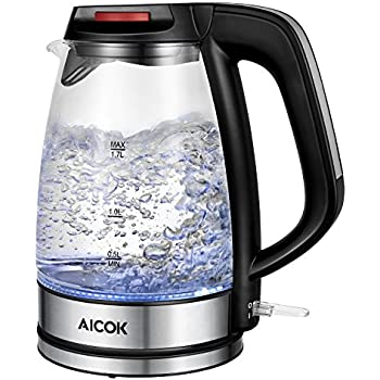 Aicok Electric Kettle Glass Electric Kettle with Fast Boil, LED Indicator Light Cordless Kettle Premium Strix Thermostat Auto Shut Off with Boil Dry Protection 1500W, 1.7Liter