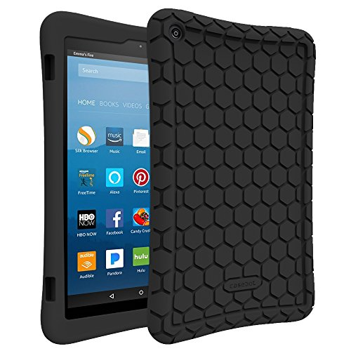 Fintie-Silicone-Case-for-All-New-Amazon-Fire-HD-8-Tablet-7th-Generation-2017-Release---Honey-Comb-Upgraded-Version-Kid-Friendly-Light-Weight-Anti-Slip-Shock-Proof-Protective-Cover-Black