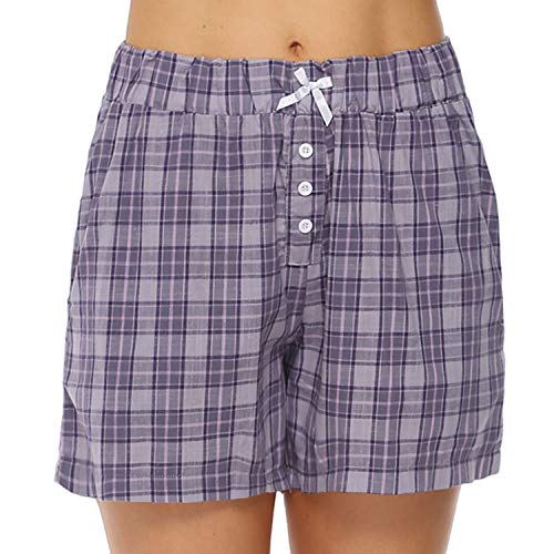 (Hawiton 1 & 2 Pack Women's Plaid Cotton Sleeping Pajama Shorts Lounge Boxer Drawstring Bottoms Purple)