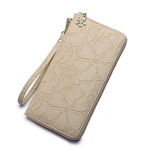 - Women large Wallet soft leather wristlet Card Organizer Phone holder Ladies Clutch Long Purse with Wrist Strap Zipper around (beige)