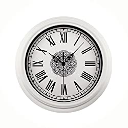 Foxtop 12 Inch Large Silent Non-ticking Classic Quartz Wall Clock Decor Living Room Roman Numeral Clocks (White)