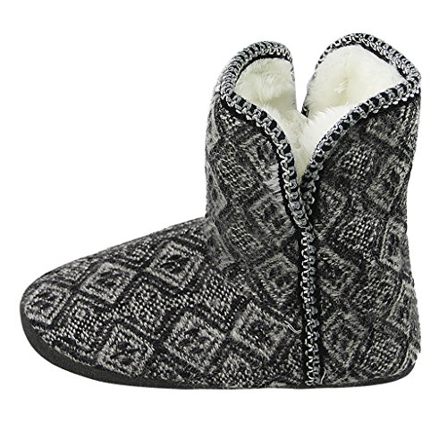 Women's Winter Simple Knitted Wool Boots Slipper Ultra Thick Cotton Fleece Super Warm Slipper ExrxoJE