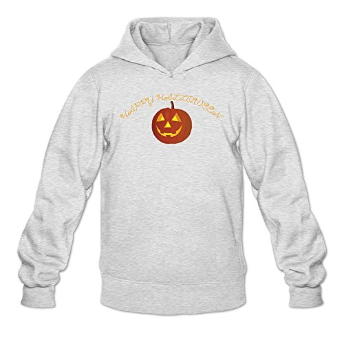 Man's Cute Light Gloomy Ghost Pumpkin Halloween Hoodie Ash