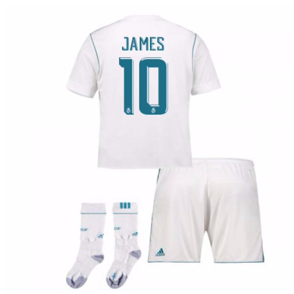 2017-17 Real Madrid Home Full Kit (James 10) B078CR8WQ5White XL Boys 32-34\
