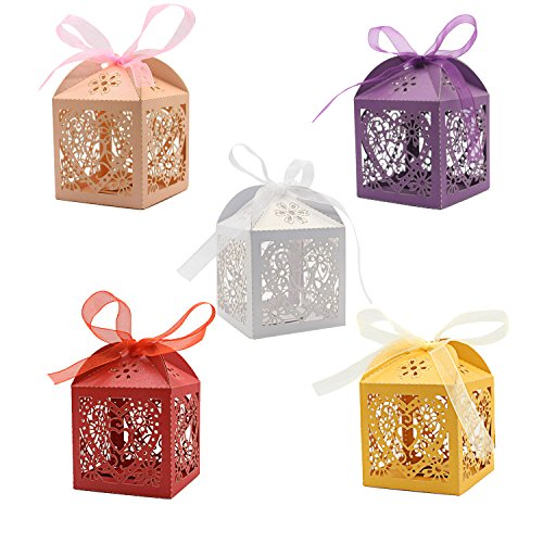 KEIVA 100 Pack Laser Cut Candy Boxes, 5 Colors Love Heart Favor Boxes, Wedding Favor Boxes for Bridal Shower Anniverary Birthday Party Wedding Favor, Multicolor Candy Box with Ribbons