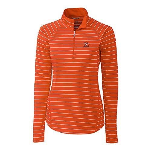 (Cutter & Buck NCAA Virginia Cavaliers Long Sleeve Pencil Stripe Evie Half Zip, College Orange, XS)