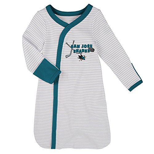 Outerstuff NHL San Jose Sharks Children Unisex Gown, Hat & Bootie Set, 1 Size, Cool Grey