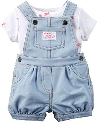 Carter's 2 Piece Denim Shortall Set, Floral, 12 (Carters Shortall)