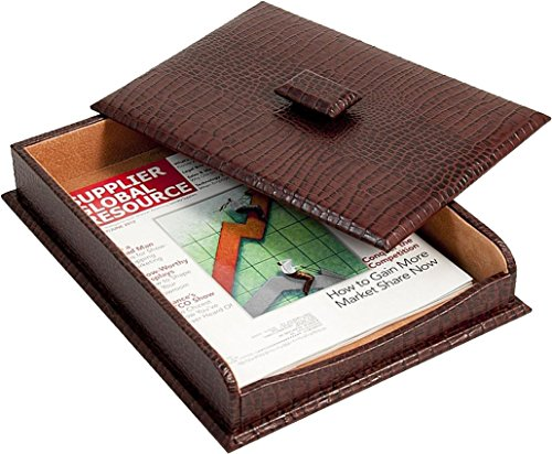 """Bey Berk Letter Tray With Cover Brown """"croco"""" Leather"""