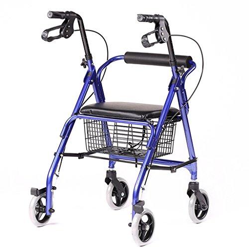 Folding Rollator Walker - 4 Wheel Medical Rolling Walker with Storage Basket - Mobility Aid for Adult, Senior, Elderly & Handicap - Aluminum Transport Chair (Blue)