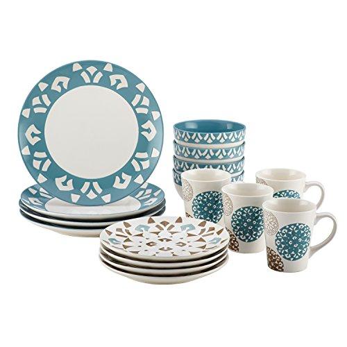 Rachael Ray Dinnerware Pendulum 16-Piece Stoneware Dinnerware Set, Print -