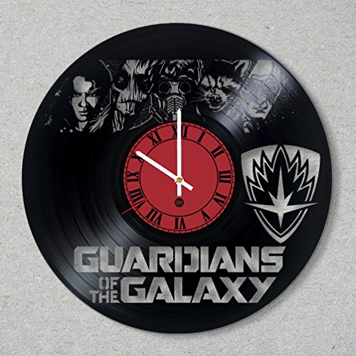 [Vinyl Record Wall Clock Guardians of the Galaxy comics movie decor unique gift ideas for friends him her boys girls World Art Design] (Thanos Movie Costume)