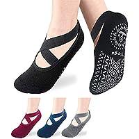 JSBelle 4 Pares de Calcetines de Yoga, Calcetines Antideslizantes para Yoga Pilates, Ballet, Entrenamiento Descalzo, Baile, Fitness