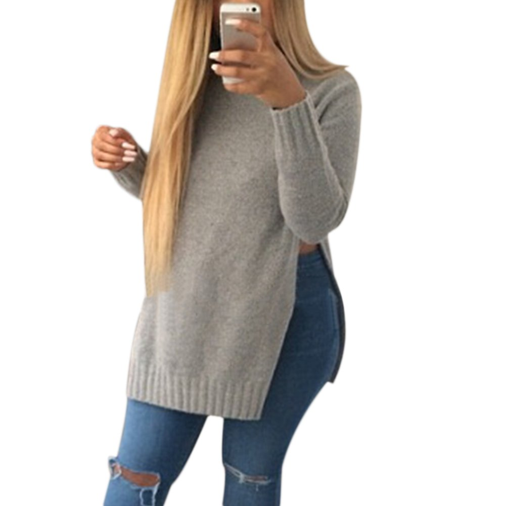 ea8717ab314b87 Verypoppa Women s Knitted Pullover Sweater O Neck Side Split Jumper Top at  Amazon Women s Clothing store