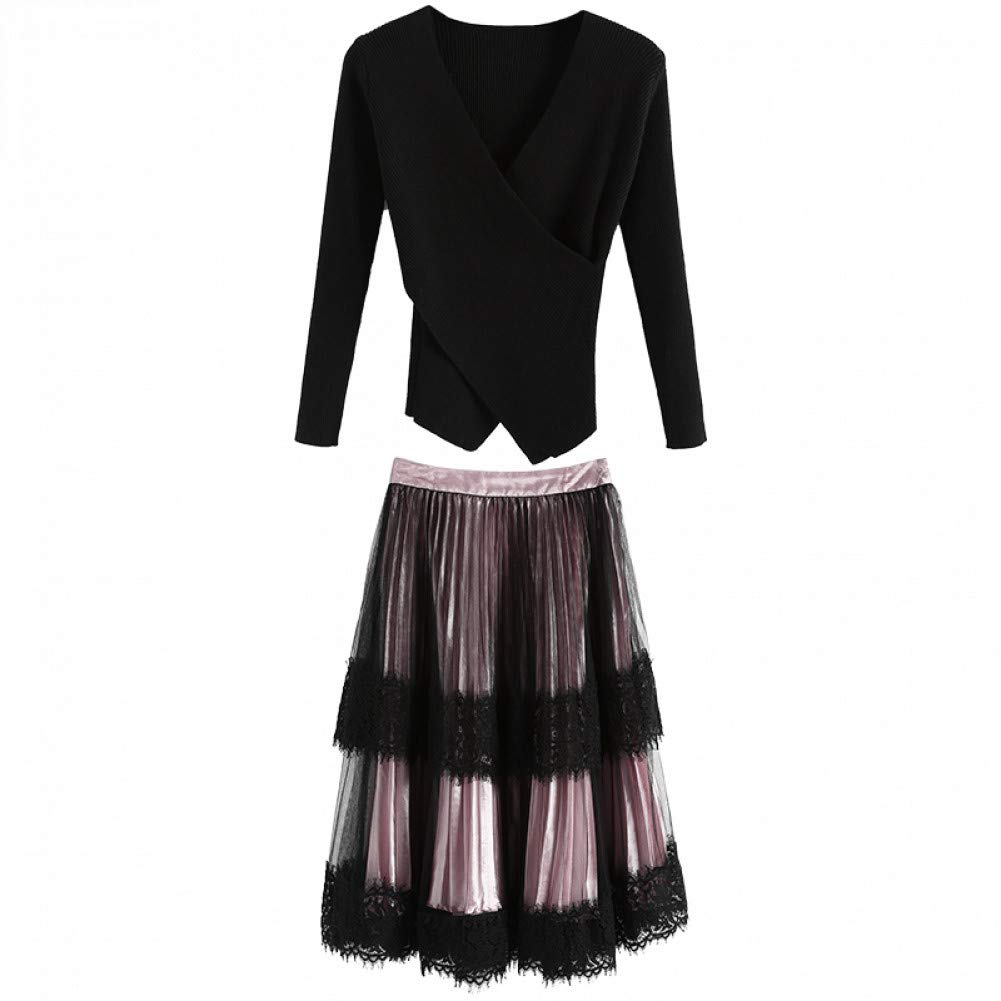 L BINGQZ Knitted dress female autumn new goddess fan suit winter sweater plus skirt two-piece
