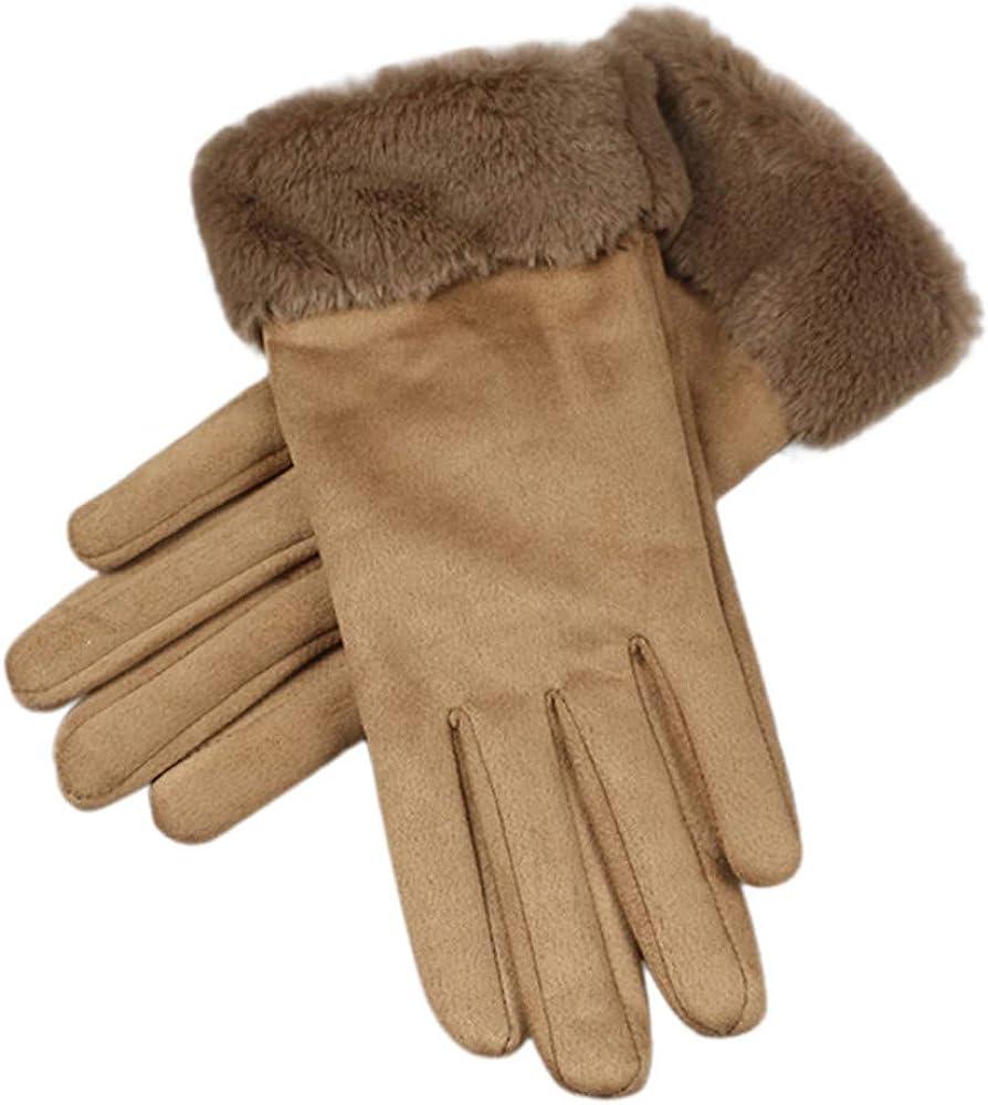 Caf/é plus velours /équitation mode casual sports de plein air gants de couleur unie DAY.LIN Femmes hiver chaud /écran tactile en cuir de daim
