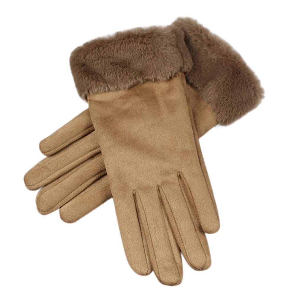 NUWFOR Womens Fashion Winter Solid Full Finger Hand Outdoor Sport Warm Gloves?Coffee,Free?
