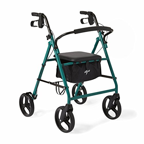 Medline Standard Steel Folding Rollator Adult Walker with 8 inch Wheels, Green