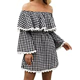 Spbamboo Hot Sale! Women Wrapped Long Sleeve Ruffled Backless Sexy Plaid Dress