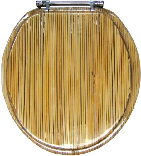 Seat Clear Toilet Standard (Ginsey Standard Resin Bamboo Toilet Seat with Chrome Hinges, Bamboo)