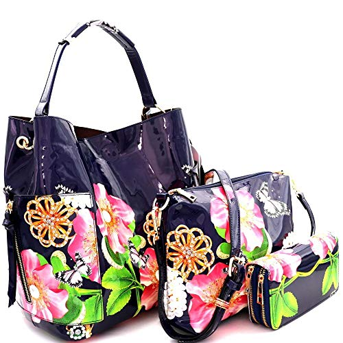 Large Hobo Leather Patent (Flower Butterfly Print PU Leather Patent 3 in 1 Hobo Purse and Wallet with Crossbody Bag)