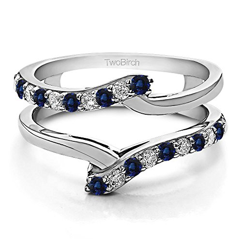 - TwoBirch 0.5CT Diamonds G,I2+Sapphire Bypass Ring Guard Enhancer in 10k White Gold (1/2CT)(Size 3-15, 1/4 Sizes)