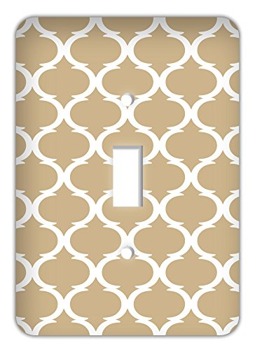 Beige Switchplate - Moroccan Ikat Print Trendy Printed Single Switchplate, Sand