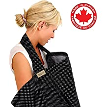 BebeChicCanada * High Quality 100% Cotton * Nursing Breastfeeding Privacy Covers * Boned Nursing Tops - Black with tiny White spots (Stylish Spotty)