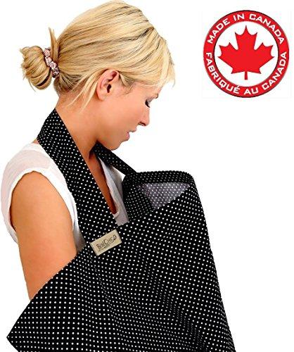 BebeChicCanada * High Quality 100% Cotton * Breastfeeding Covers * Boned Nursing Tops - tiny black / white dot (Stylish Spotty)