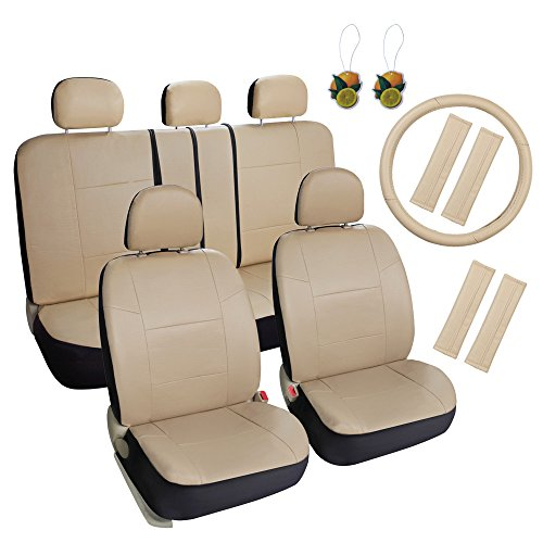Leader Accessories 17pcs Combo Pack Faux Leather Front and Rear Seat Covers, Airbag compatible Beige - Free Steering Wheel Cover and Freshener Air