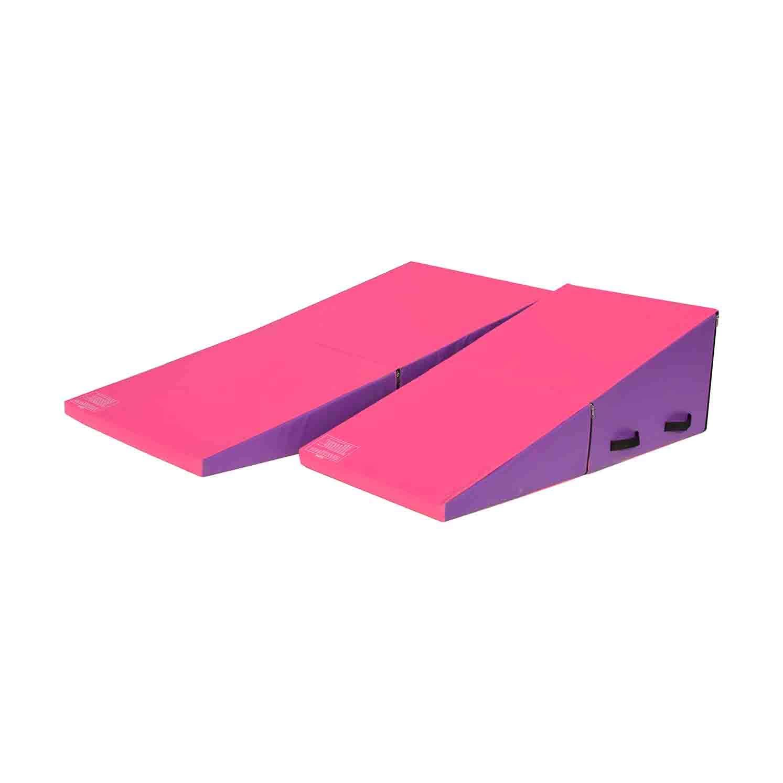 PreGymanstic 折りたたみ体操傾斜マット チーズウェッジ形状タンブリングマット タンブリング エアロビクス チア ダンス ハンドル付き B07M9N5NF2 Pink-Purple( 47''x24''x16'')